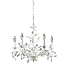 Circeo 5-Light Chandelier in Antique White with Crystal