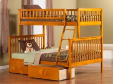Woodland Bunk Bed Twin over Full with Urban Bed Drawers in Caramel Latte
