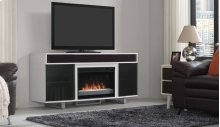 "The Enterprise TV stand with sound bar for TVs up to 70"" features a design ..."
