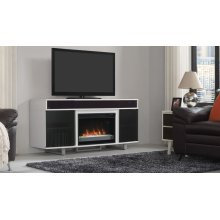 """The Enterprise TV stand with sound bar for TVs up to 70"""" features a design ..."""