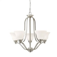 Langford 5 Light Chandelier with LED Bulbs Brushed Nickel