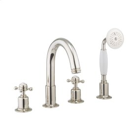 Belgravia Crosshead Deck Mount 4 Hole Tub Faucet with Handshower - Polished Nickel