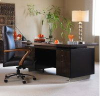 Seven Drawer Desk With Black Leather Top Product Image