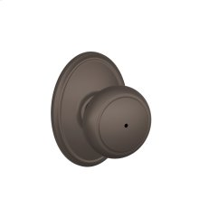 Andover Knob with Wakefield Style trim Bed & Bath Lock - Oil Rubbed Bronze