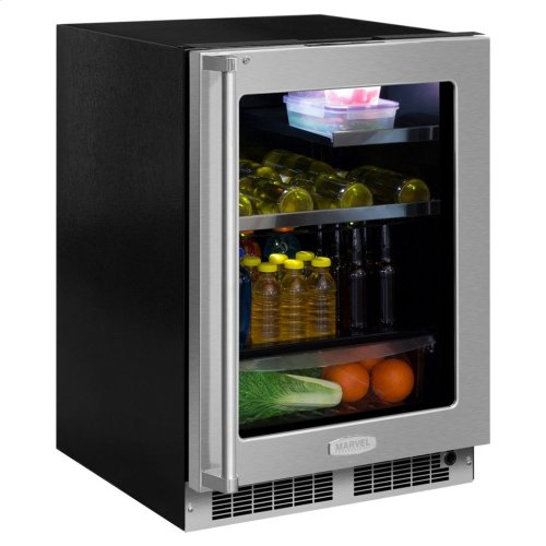 "Marvel Professional 24"" Beverage Refrigerator with Drawer - Stainless Frame, Glass Door With Lock - Integrated Right Hinge, Professional Handle"