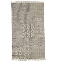 Block Print Grey Geometric & Floral 5' x 8' Rug (Each One Will Vary)