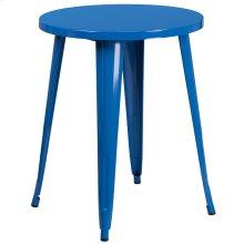 24'' Round Blue Metal Indoor-Outdoor Table