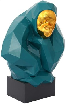Pondering Ape Large Sculpture - Green and Gold Product Image