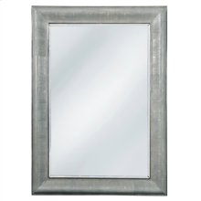 Faux Charcoal Shagreen Leather Inlay Mirror with Beveled Glass