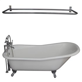"Icarus 67"" Cast Iron Slipper Tub Kit - Polished Chrome Accessories - White"