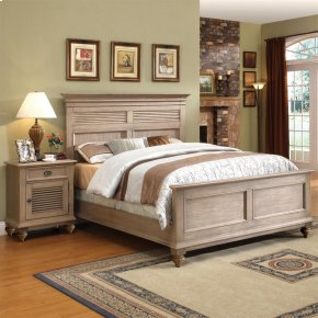 Coventry - Full/queen Panel Shutter Headboard - Weathered Driftwood Finish
