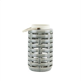 "Ceramic Lattice Weave Lantern , 10.75"", Gray"