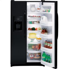 GE® 22.0 Cu. Ft. Side-By-Side Refrigerator with Dispenser (This is a Stock Photo, actual unit (s) appearance may contain cosmetic blemishes. Please call store if you would like actual pictures). This unit carries our 6 month warranty, MANUFACTURER WARRANTY and REBATE NOT VALID with this item. ISI 32954