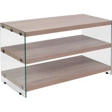 Weston Collection Natural Wood Grain Finish TV Stand with Shelves and Glass Frame
