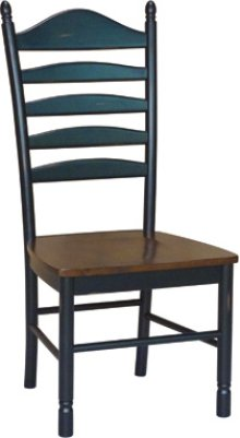 Ladder Back Chair Aged Ebony & Espresso