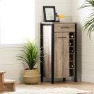 Small Bar Cabinet with Wine Bottle Storage - Weathered Oak and Matte Black Product Image