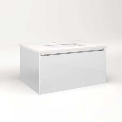 "Cartesian 30-1/8"" X 15"" X 21-3/4"" Single Drawer Vanity In Satin White With Slow-close Plumbing Drawer and Night Light In 5000k Temperature (cool Light)"