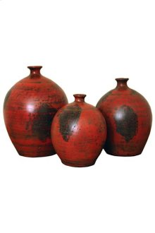 3PC Red Bola Pottery