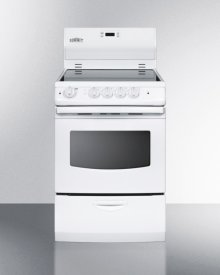 "24"" Wide Smoothtop Electric Range With Lower Storage Drawer, Oven Window, and Digital Clock"