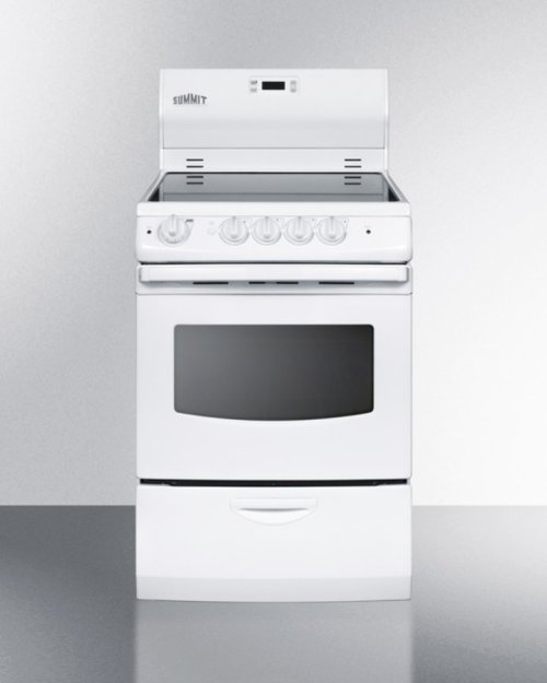 """24"""" Wide Smoothtop Electric Range With Lower Storage Drawer, Oven Window, and Digital Clock"""
