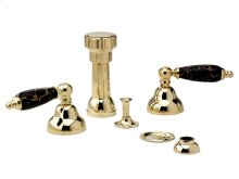 Four Hole Bidet Set Black Marble - Polished Brass