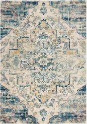 FUSION FSS13 CREAM BLUE RECTANGLE RUG 5'3'' x 7'3''