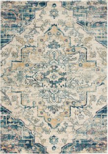 Fusion Fss13 Cream Blue Rectangle Rug 5'3'' X 7'3''