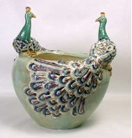 Peacocks Perch On the Side of This Simple Pale Green Planter. Crackle Finish. .MAJOLICA-STYLE Porce