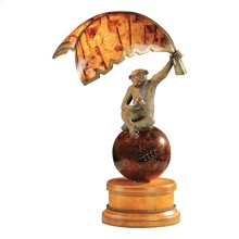 VERDIGRIS PATINA BRASS MONKEY AND PENSHELL BANANA LEAF LAMP, LEATHER AND PENSHELL BASE