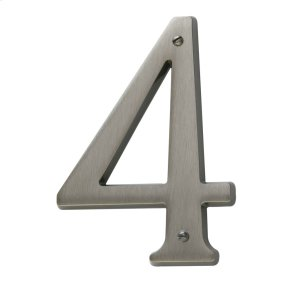 Antique Nickel House Number - 4