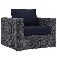 Summon Outdoor Patio Fabric Sunbrella® Armchair in Canvas Navy
