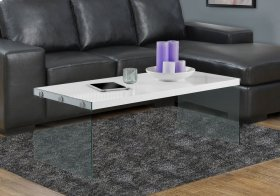 COFFEE TABLE - GLOSSY WHITE WITH TEMPERED GLASS