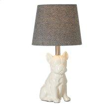 Pug Accent Lamp with Herringbone Shade. 60W Max.