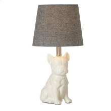 Pug Accent Lamp with Herringbone Shade. 60W Max.
