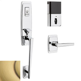Satin Brass and Brown Evolved Palm Springs 3/4 Escutcheon Handleset