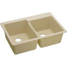 "Elkay Quartz Classic 33"" x 22"" x 9-1/2"", Offset Double Bowl Drop-in Sink, Sand"