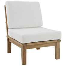 Marina Armless Outdoor Patio Teak Sofa in Natural White