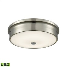 Towne 1-Light Round Flush Mount in Satin Nickel with Opal Glass Diffuser - Integrated LED - Small