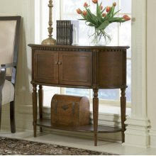 """Warm Cherry"" Demilune Console Table - overpacked"