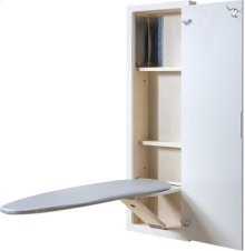 White ironing center with with raised panel door