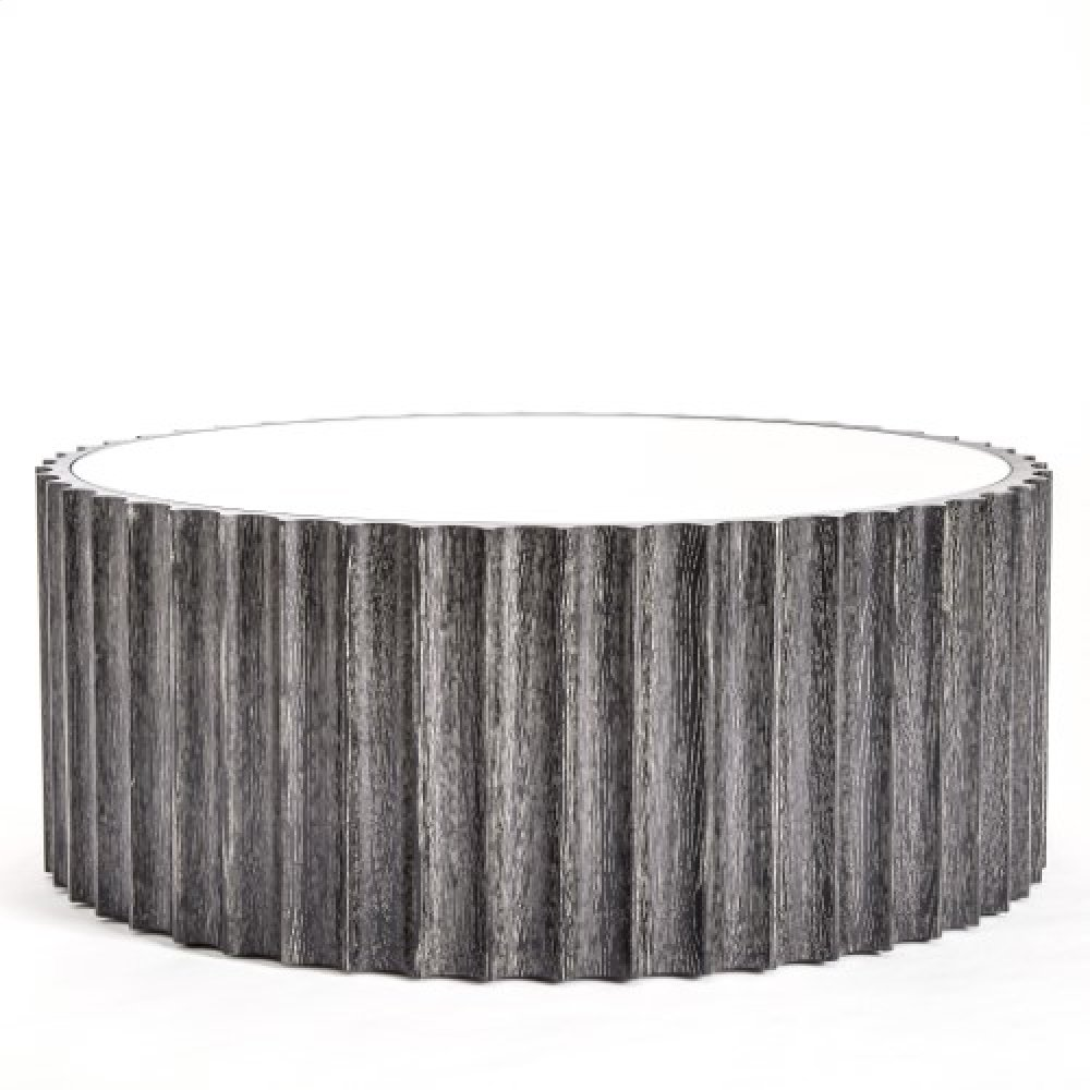 Reflective Column Cocktail Table-Black Cerused Oak