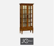 Tall Country Walnut Plank Glazed Display Cabinet