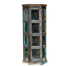 Reclaimed Wood 4 Shelf Glass Corner Bookcase