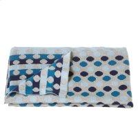 Knit Multi Blue Dot Blanket. Product Image