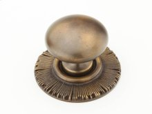 "Solid Brass, Symphony, Sunburst, Round Knob w/Backplate, 1-1/4"" diameter, Estate Dover finish"