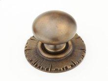 "Solid Brass, Symphony, Sunburst, Round Knob w/Backplate, 1-1/4"" diameter, Estate Dover finish"