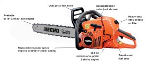 CS-590 Timber Wolf 59.8cc Professional-Grade Chain Saw