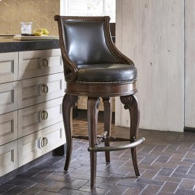 Tatum Swivel Barstool - Dark Leather