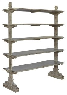 Bengal Manor Mango Wood 5 Tier Aged Ash Open Bookshelf