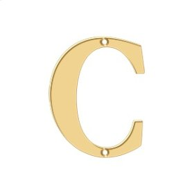 """4"""" Residential Letter C - PVD Polished Brass"""